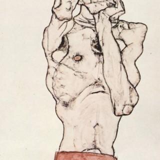 빨간 수건을 두른 남성 누드 이미지