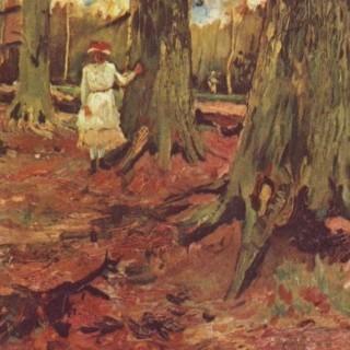 흰 옷을 입은 숲속의 소녀