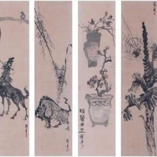 화훼길상도(병풍-사군자, 동물)