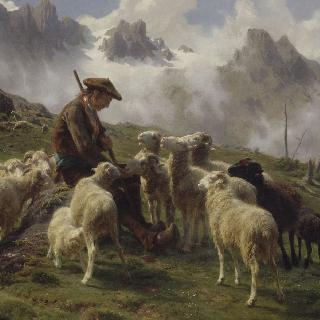 양들에게 소금을 주는 피레네 산맥의 목동