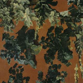 빨간 배경 위레 놓인 멜론과 잎사귀