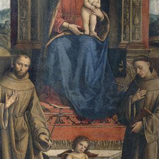 성 프란체스코, 성 안토니우스과 두명의 기부자들 사이의 왕좌에 앉은 성모와 아기예수
