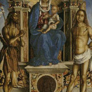 세례 요한과 성 세바스티아노 사이의 성 모자
