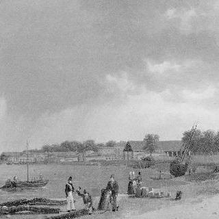 로슈포르 해안의 옛 조선소의 전경