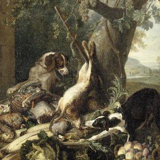 사냥감, 야채, 과일 그리고 2마리의 개