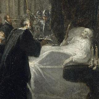 죽어가는 뒤 게스랭에게 광장의 열쇠를 돌려주는 샤토뇌프의 지도자