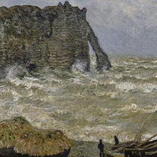에트르타의 파도가 심하게 치는 바다