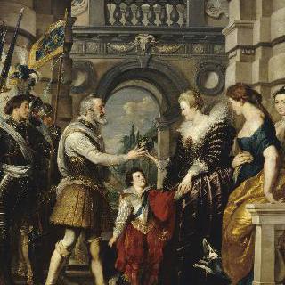 왕국을 여왕에게 위임하고 독일과의 전쟁을 위해 떠나는 앙리 4세