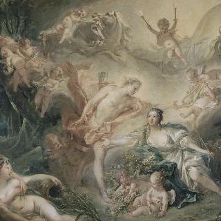 목동 이세에게 자신의 신성을 나타내는 아폴론