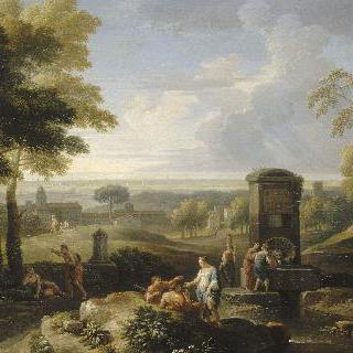 풍경 : 연못가에 여인이 있는 이탈리아 풍경