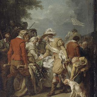 이브리 전투에서 부상을 당한 쉴리를 만난 앙리 4세