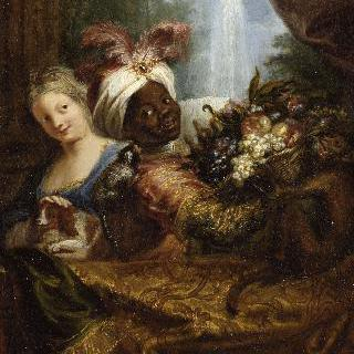 과일 바구니를 든 흑인과 개를 쓰다듬는 소녀