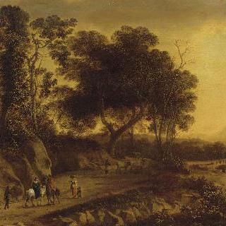 강가를 산책하는 사람들이 있는 풍경