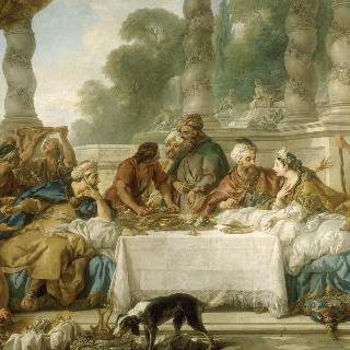 에스더와 아하스에로스의 식사 : 벽걸이 천 초안