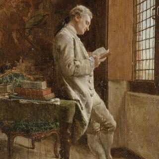 흰 옷을 입고 책읽는 남자