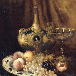 프랑수아 1세의 물병이 놓인 탁자 위 과일과 예술품
