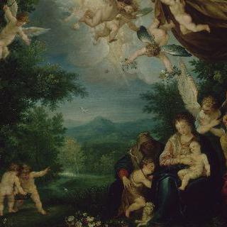 세례 요한과 성녀 안나, 성 가족에게 꽃을 건네는 천사들