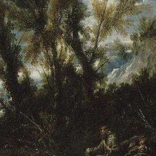 숲 속의 두명의 은둔 (성 히에로니무스가 있는 풍경으로 잘못 알려짐)