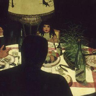 저녁 식사, 램프가 있는 풍경
