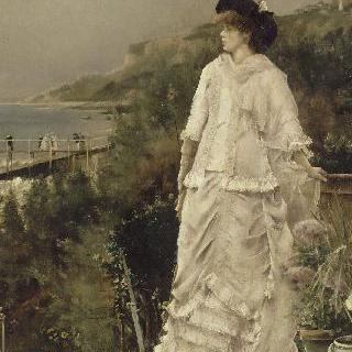 바닷가 테라스 위에 서있는 여인의 초상