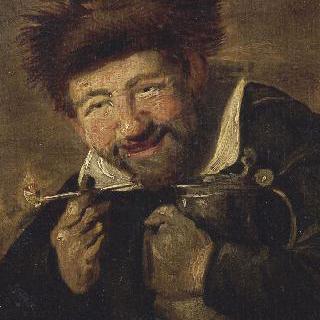 단지를 들고  담배 피우는 남자