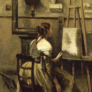 코로의 아틀리에, 화판 앞에 앉은 젊은 여인