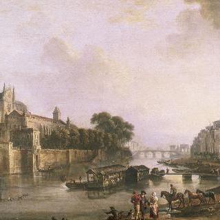 1775년 경, 노트르담의 전경, 대주교의 교구와 베르나르댕의 부두