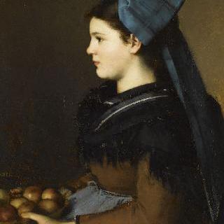 사과 바구니를 들고 알자스 지방의 옷을 입은 외제니 에네