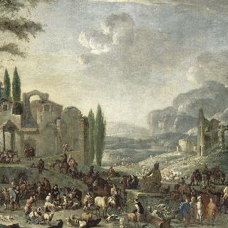상상 속의 폐허가 있는 이탈리아 시장