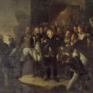 1815년 3월 20일 밤 튈르리 궁을 떠나며 마지막 인사를 나누는 루이 18세