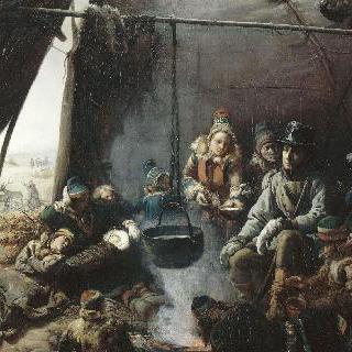 라퐁의 주둔지를 방문한 루이 필립, 오를레앙 공작