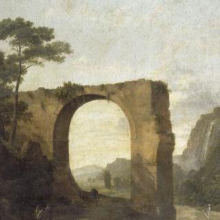 커다란 아치가 있는 이탈리아의 풍경