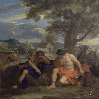 제우스에 의해 소로 변한 요정 이오를 구출하기 위하 목동 아르구스를 잠재우는 메르쿠리우스