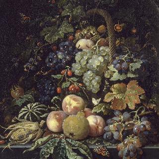 벽감 안의 과일, 곤충, 꽃이 든 바구니