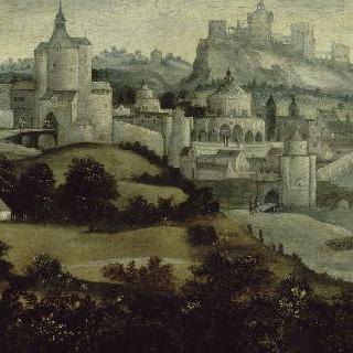 항구가 있는 요새 도시 풍경