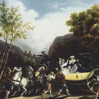 여행중 에 에스파냐 강도들에게 공격 받는 프랑스마차
