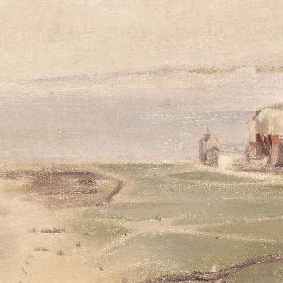 성에서 본 디에프 해변 풍경