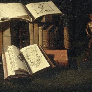 책, 양초와 작은 청동상