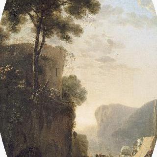 강 위로 솟은 탑이 있는 풍경