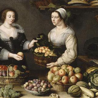 과일과 채소를 파는 여인
