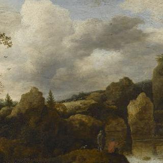 낚시꾼과 사냥꾼이 있는 바위산의 풍경