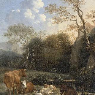 작은 숲 : 개울가의 소와 당나귀, 양