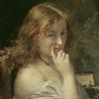 화장하는 젊은 여인