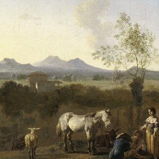 백마가 있는 이탈리아의 풍경