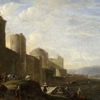 도시 성문을 지나는 수레