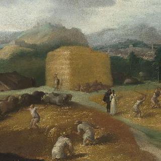 밀을 타작하는 사람들이 있는 풍경