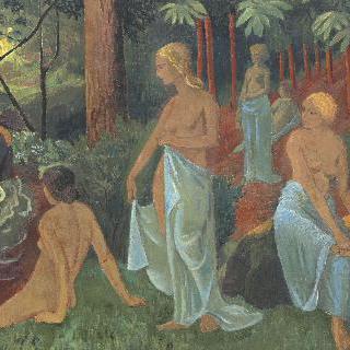 하얀 천을 두른 목욕하는 여인들