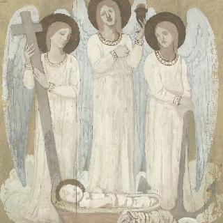 요람속의 성녀 주느비에브를 돌보는 믿음의 여신, 희망의 여신 그리고 자비의 여신