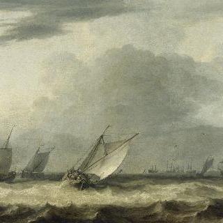태풍을 맞은 배