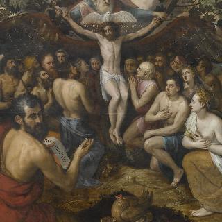십자가에 못박힌 예수의 은총을 위하여 사람들을 모으는 삼위일체 신의 우의화